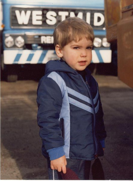 Christopher Kelly (aged two) at the Westmid yard in Neachells Lane, Wolverhampton, in November 1980.