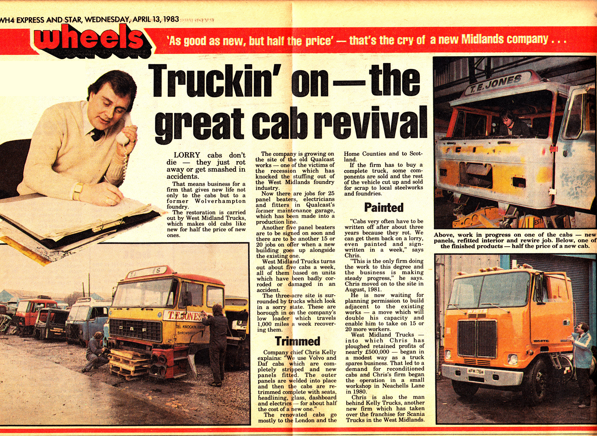 Express & Star editorial in 1983 about Midlands Trucks (Keltruck) supplying recycled lorry cabs.