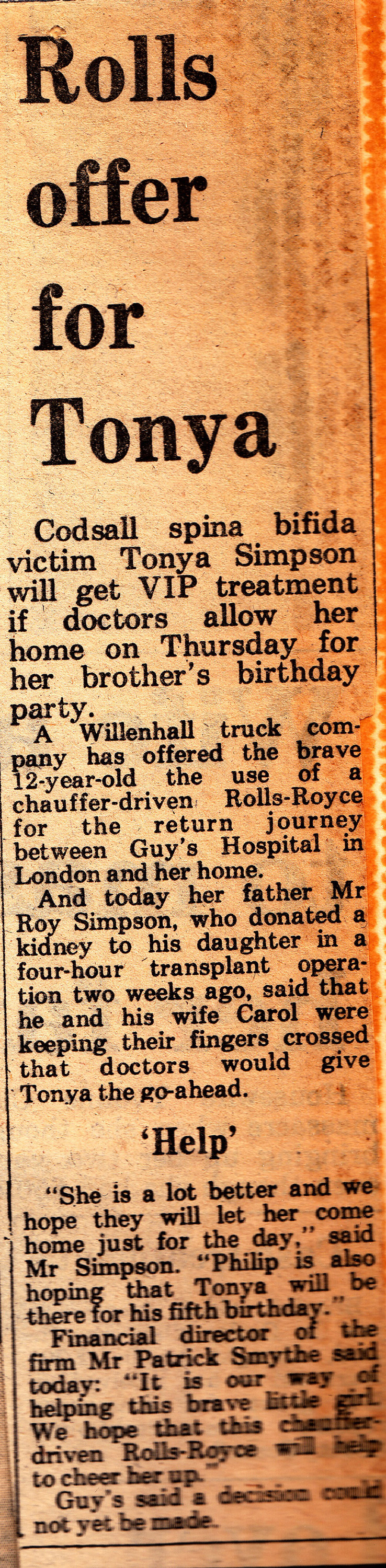 A young Mike Kelly collects a local girl from hospital in a Rolls Royce