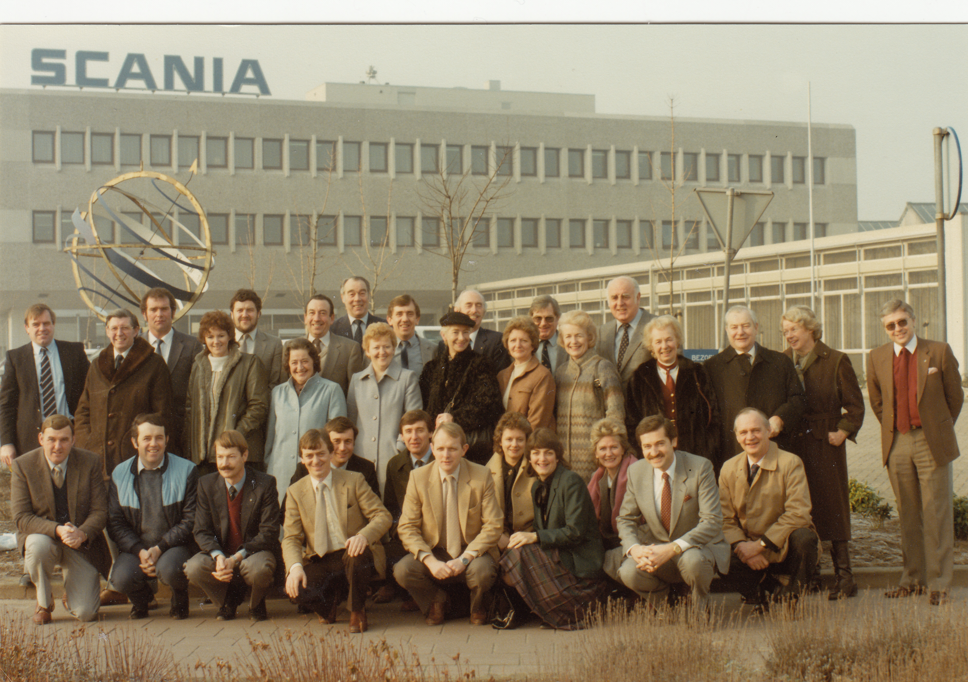 UK Scania Dealer Principals & partners at Scania Group, Zwolle, Netherlands in the early 1980s with Chris Kelly, founder, representing Keltruck.