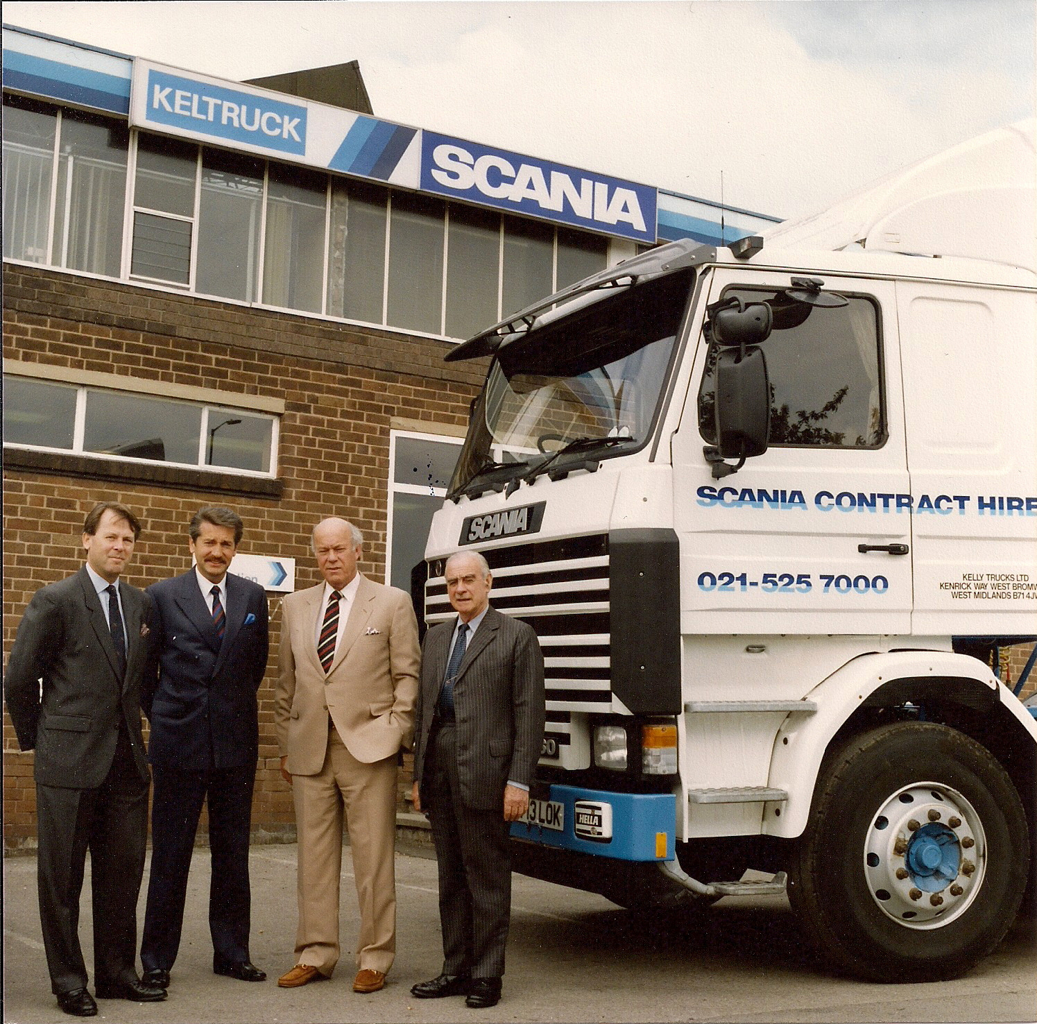 Dieter Merz (Scania (Great Britain) Limited), Chris Kelly (Keltruck Limited), Sir Eric Pountain DL (Tarmac plc) & Brig. Sir Louis Hargroves CBE DL (Keltruck Limited)