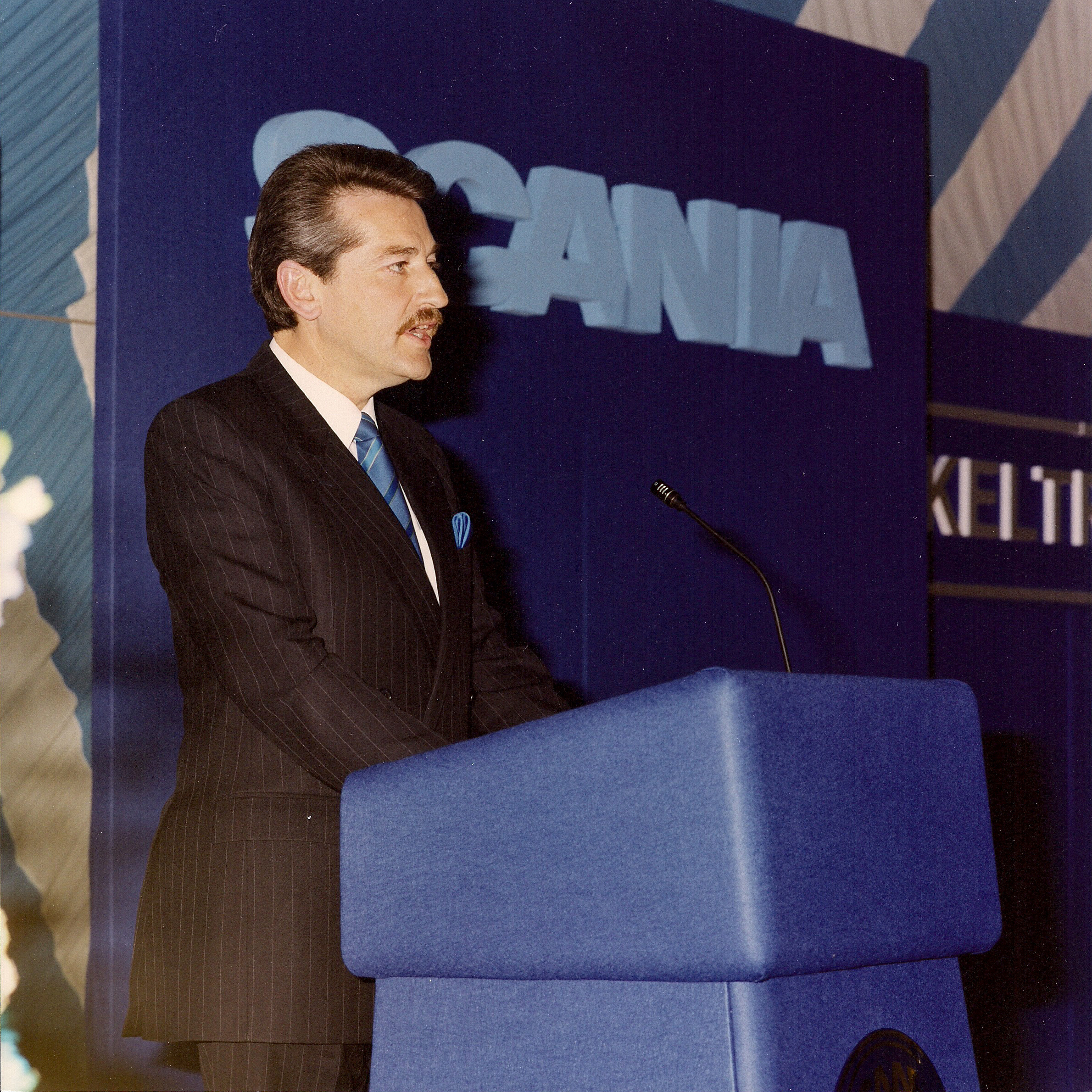 Chris Kelly, founder, addresses Keltruck's tenth anniversary celebration in 1993 at which the Secretary of State for Transport also officially opened the company's West Bromwich depot & head office expansion