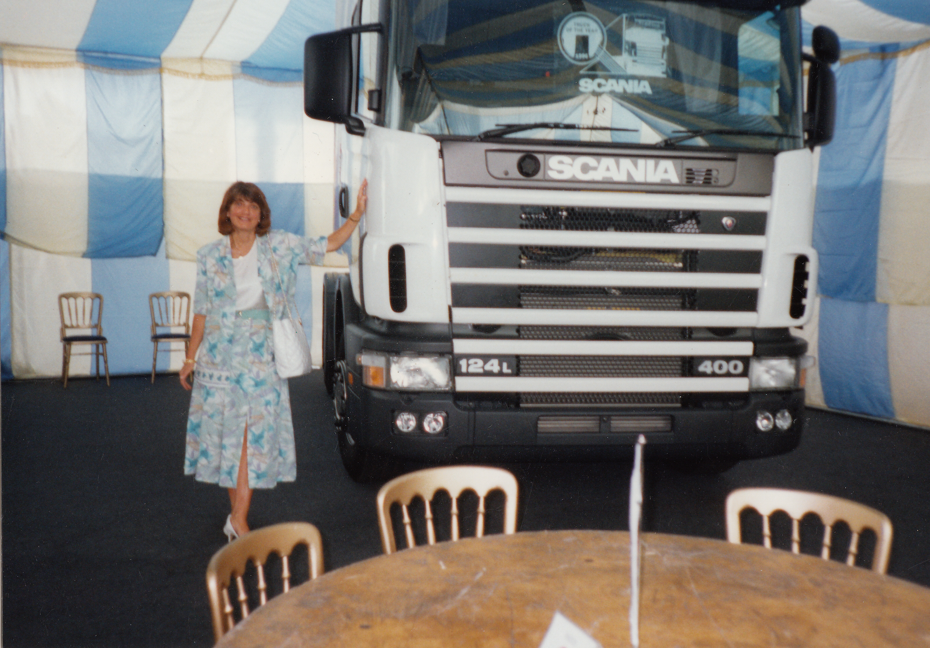 Sonia Kelly at the Scania 4 Series launch at Keltruck in 1995