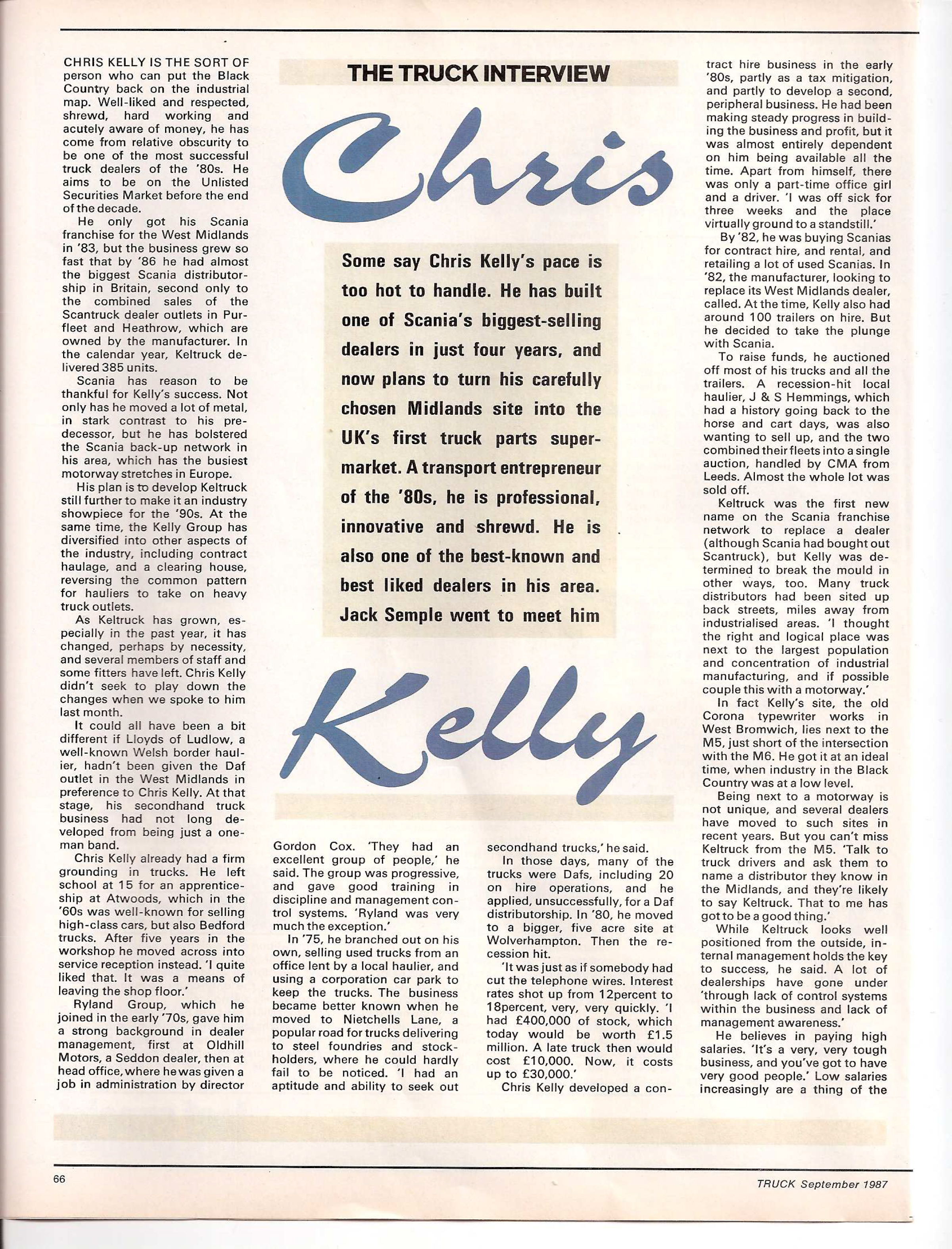 Truck magazine interviews Chris Kelly, September 1987